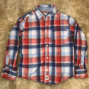 Carters Plaid Long Sleeve Button Up Rugby Shirt